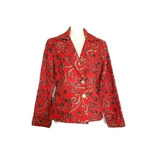 Red beaded Embroidered blazer jacket size S